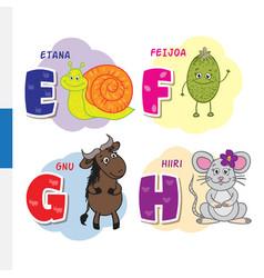 finnish alphabet snail feijoa wildebeest mouse vector image
