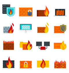 Firewall icons set flat style vector