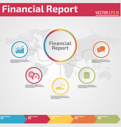 Five points financial report infographic vector