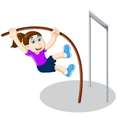Funny girl cartoon playing high jump vector