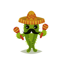funny mexican cactus with black mustache vector image
