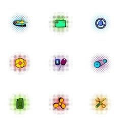 Garage icons set pop-art style vector image