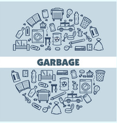 Garbage and waste poster with text and icon vector