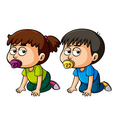 Girl and boy toddler crawling vector