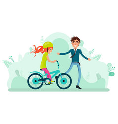 Girl riding bike with adult family leisure vector