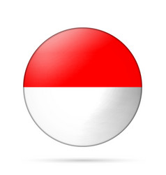 Glass light ball with flag of indonesia round vector