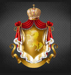 Golden royal coat of arms with crown vector