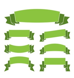 Green banners set decoration ribbons vector image