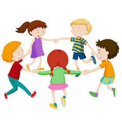 group of chidlren holding hand vector image