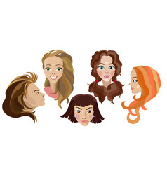 hairstyles on different people smiles and vector image