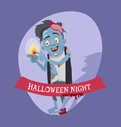 halloween night crazy zombie vector image
