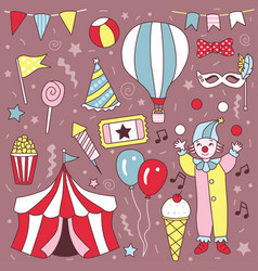 hand drawn cute carnival clown party set vector image