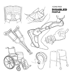 hand drawn pictures for disabled people vector image