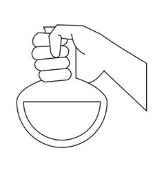 hand with laboratory flask vector image