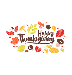 happy thanksgiving phrase handwritten with elegant vector image
