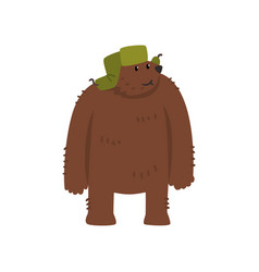 humanized male bear character in green earflap vector image