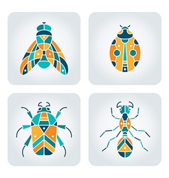 Insects mosaic icons vector image