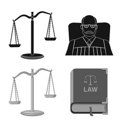 Isolated object of law and lawyer symbol set of vector