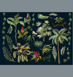 jungle trees and flowers isolated vector image