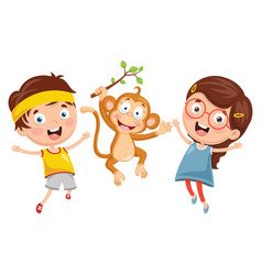 kids with monkey vector image
