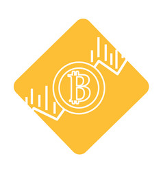 label financial arrow up to bitcoin currency vector image