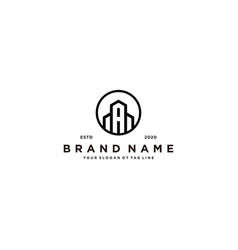 Letter a and building logo design vector