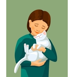 Little girl embracing white cat vector
