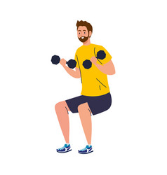 Man doing squats with dumbbells exercise sport vector