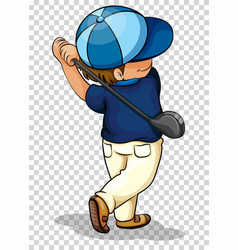 man playing golf on transparent background vector image