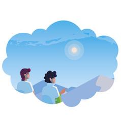 Men couple contemplating horizon in snowscape vector