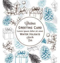 merry christmas card lineart christmas vector image