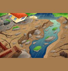 Monsoon rain resulting in flood and mudslide vector