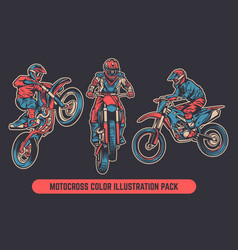 Motocross colored vintage retro pack vector
