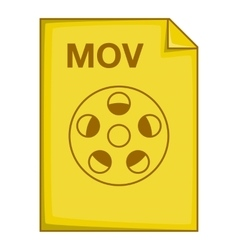 MOV file icon cartoon style vector image