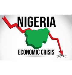 Nigeria map financial crisis economic collapse vector