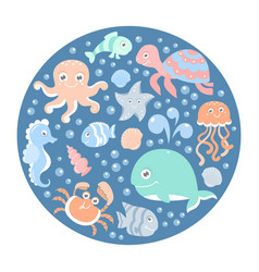 Ocean set with cute sea animals on a round card vector