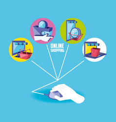 on line shopping with hand using mouse and set vector image