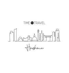 One single line drawing hiroshima city skyline vector