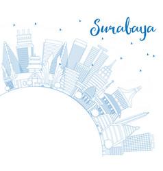 Outline surabaya skyline with blue buildings vector
