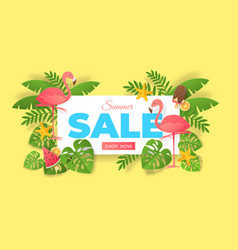 paper cut summer sale abstract banner with vector image