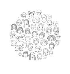 pattern with graphical faces vector image