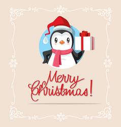 Penguin holding christmas gift vector