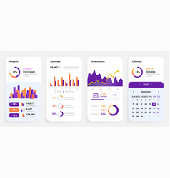 phone app ui mobile dashboard set smartphone vector image