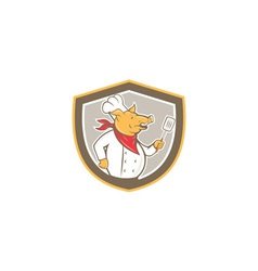 Pig Chef Cook Holding Spatula Shield Cartoon vector image
