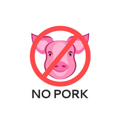 pig head logo animal text no pork beef sign vector image