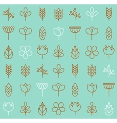plant icons background vector image vector image