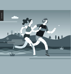 runners - man and woman exercising vector image