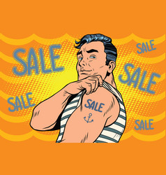 Sailor with sale tattoo on hand vector