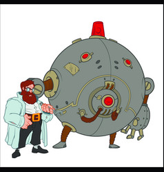 Scientist with full beard stands next to the round vector