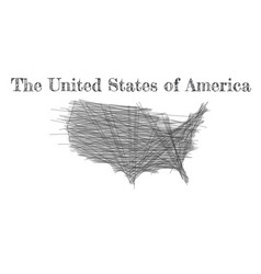 scribble map united states america sketch vector image
